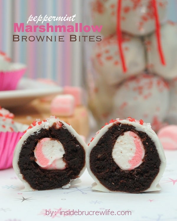 Peppermint Marshmallow Brownie Bites title