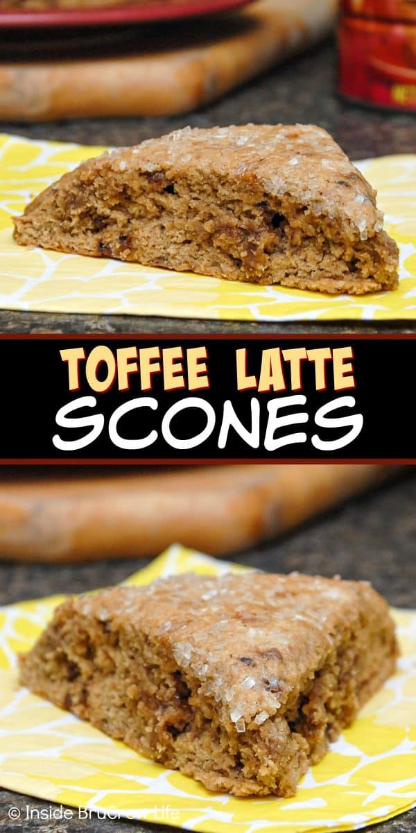 Toffee Latte Scones - these sweet breakfast treats are loaded with toffee bits and coffee flavor. Enjoy this easy recipe with a cup of coffee for breakfast. #scones #toffee #latte #coffee #breakfast #recipe