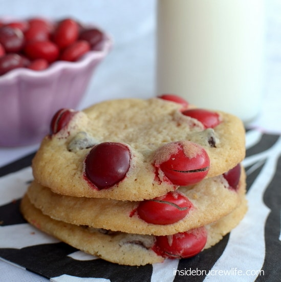 White Chocolate Cherry MM Cookies from www.insidebrucrewlife.com - white chocolate and cherry give these chocolate chip cookies a fun holiday twist