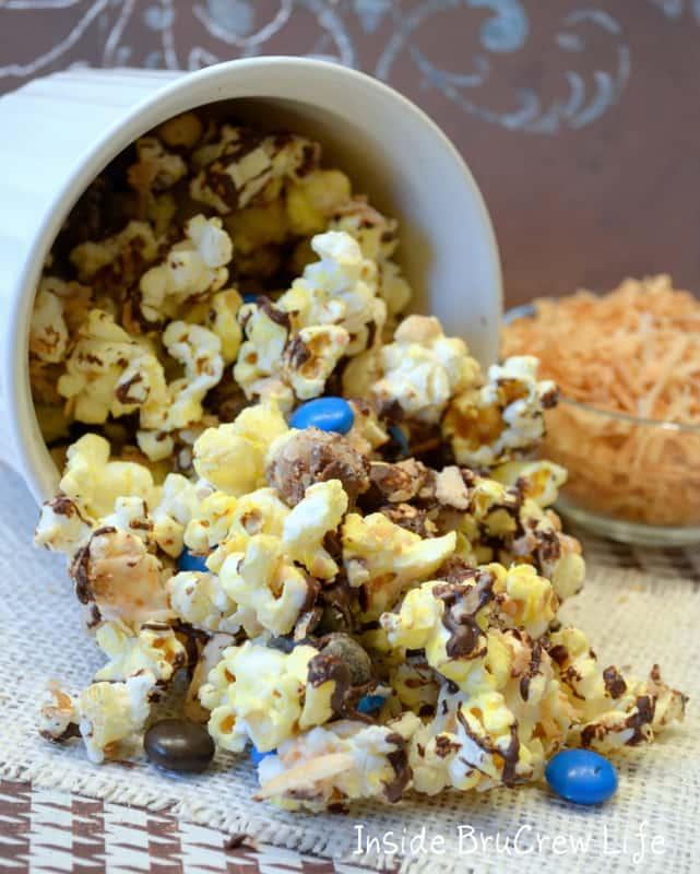 A bowl of Almond Joy Popcorn