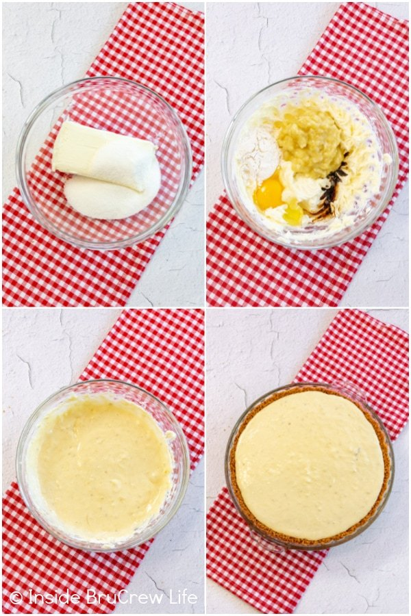 Four pictures collaged together showing how to make the banana cheesecake layer in the banana split pie