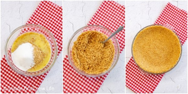 Three photos collaged together showing how to make a sugar cone crust