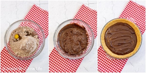 Three photos collaged together showing how to make a brownie pie