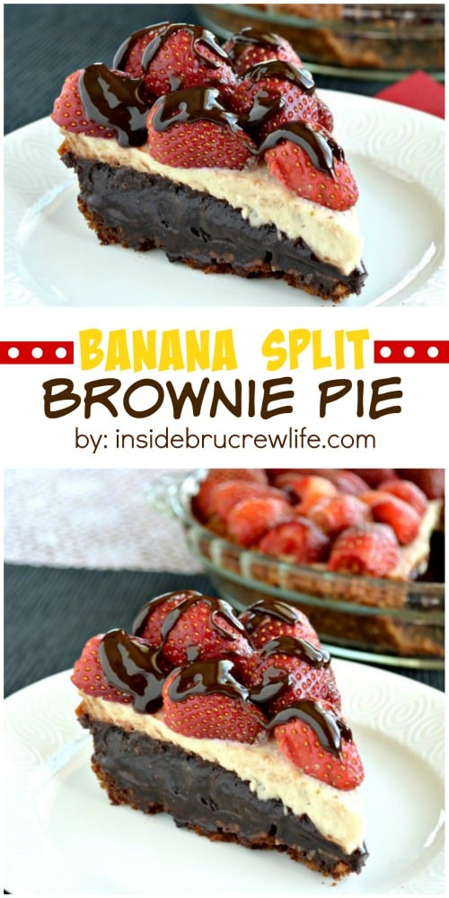Banana Split Brownie Pie - layers of creamy cheesecake, gooey brownie, and fresh berries drizzled with chocolate makes an incredible dessert recipe!
