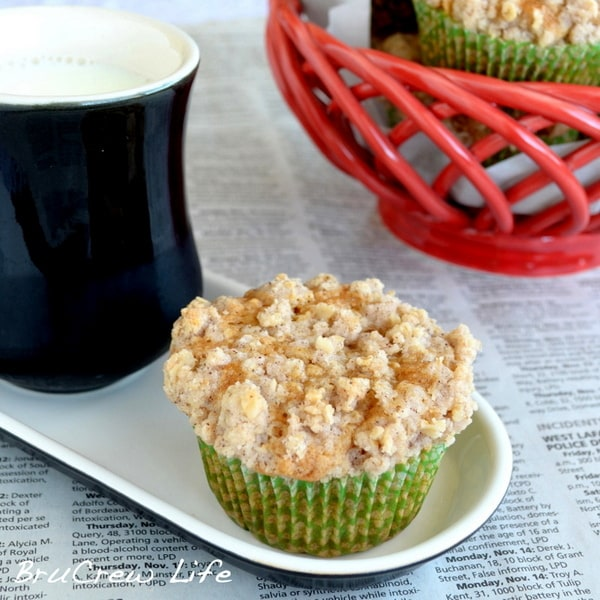 Biscoff Apple Muffins - this easy breakfast muffin recipe has apple chunks, Biscoff, and streusel. They are so good!
