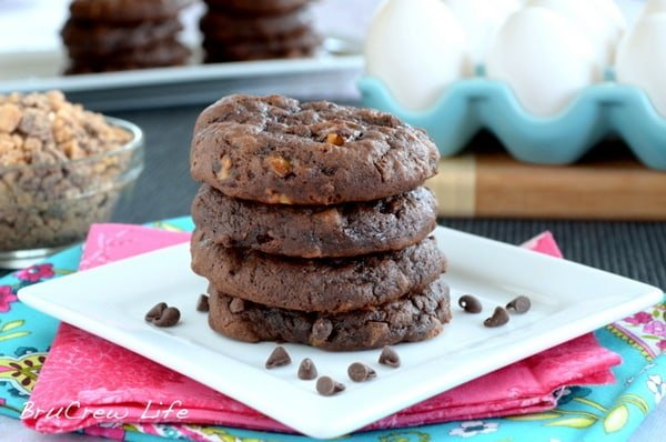 Chocolate Banana Toffee Cookies, cake mix cookies