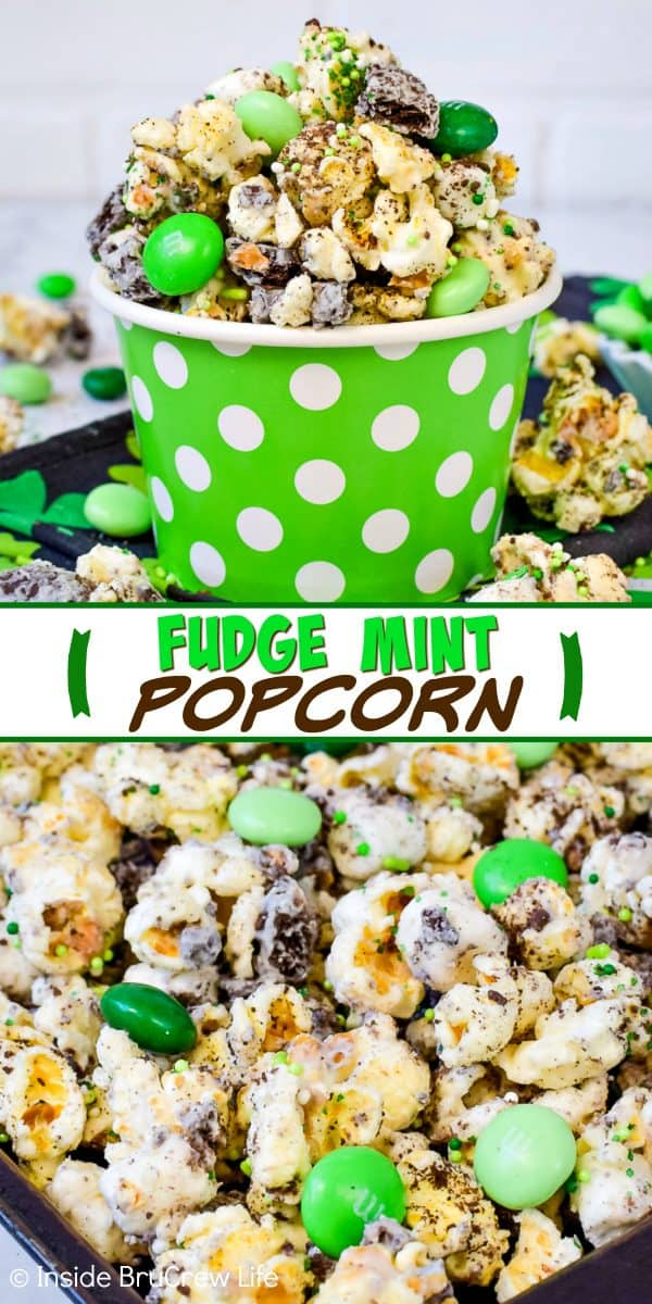 Fudge Mint Popcorn - chocolate covered popcorn loaded with mint cookies and candies makes a fun and delicious snack mix. Make this no bake recipe for the next movie night! #mint #popcorn #chocolatecoveredpopcorn #thinmints #nobake #snackmix