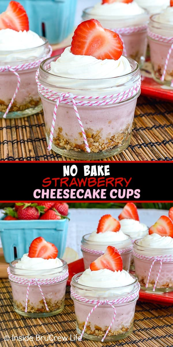 Two pictures of no bake strawberry cheesecake cups collaged together with a black text box