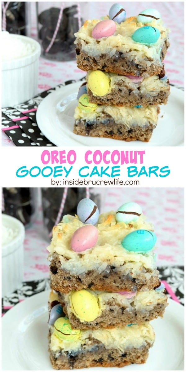 Oreo cookies and coconut M&M's make these coconut gooey cake bars a delicious treat! These disappear every time I make them!
