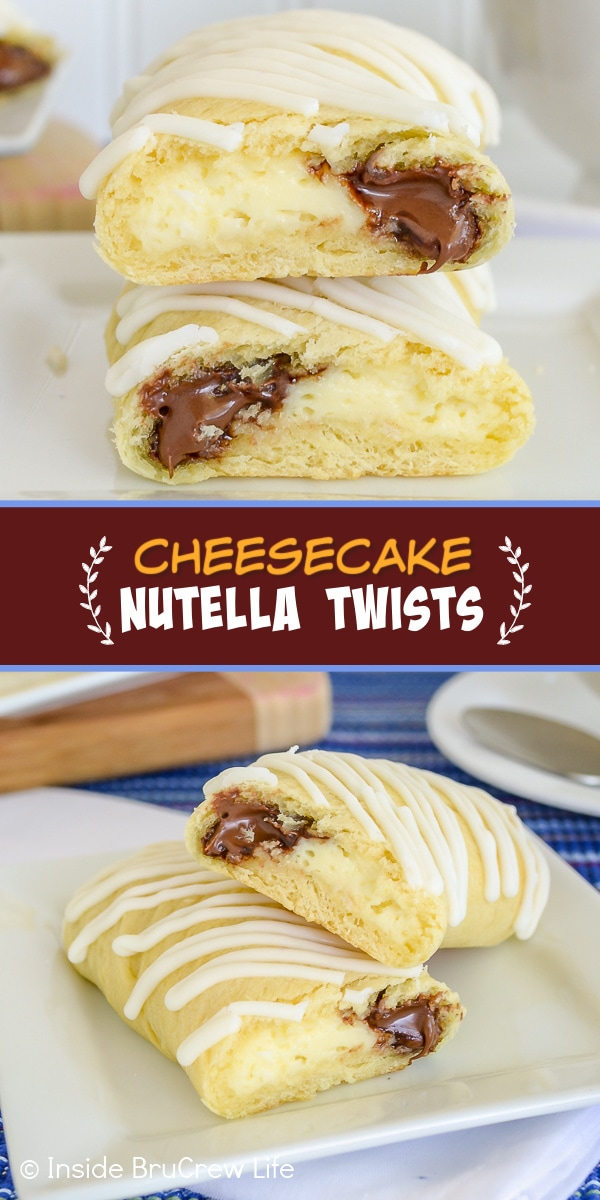 Two pictures of Cheesecake Nutella Twists collaged together with a brown text box
