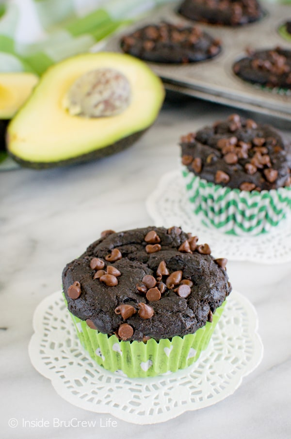 Don't let the ingredients scare you away from these Chocolate Avocado Muffins! This is a family favorite breakfast recipe!
