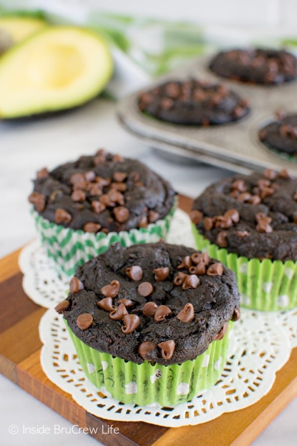 Yogurt, chocolate, and avocado make these Chocolate Avocado Muffins so rich and delicious! Great breakfast recipe!