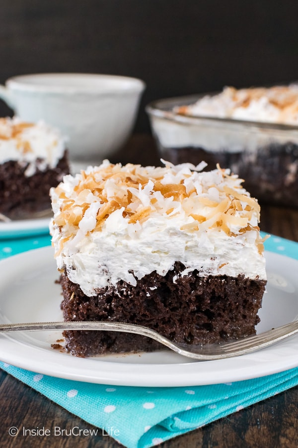 Chocolate Coconut Cake - sweet chocolate cake topped with three kinds of coconut! Great cake recipe for spring or summer!