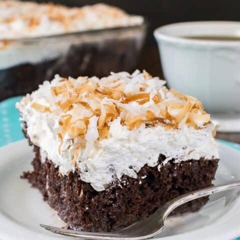Chocolate Coconut Poke Cake
