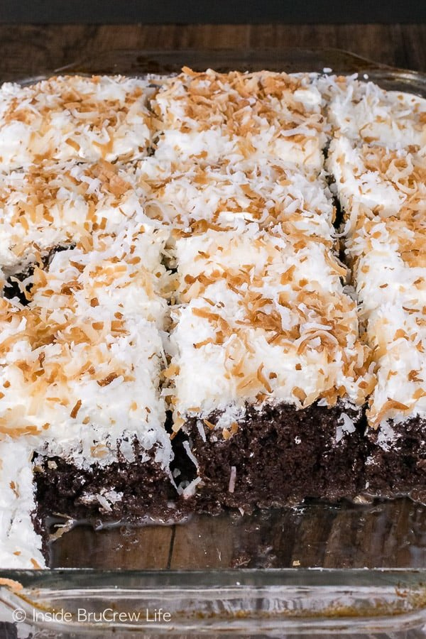 Chocolate Coconut Cake - this chilled chocolate coconut cake it topped with three kinds of coconut goodness! Great dessert recipe!