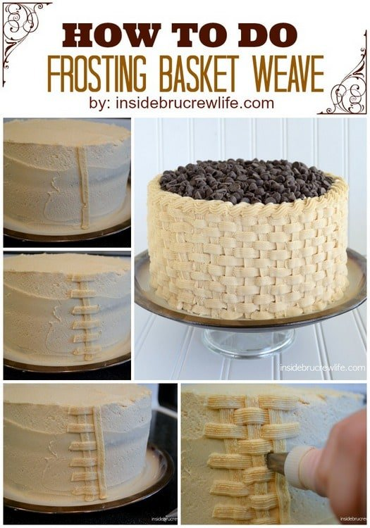 How to Decorate a Layer Cake with Basket Weave Frosting! #banana #cake #layercake #peanutbutterfrosting #basketweave