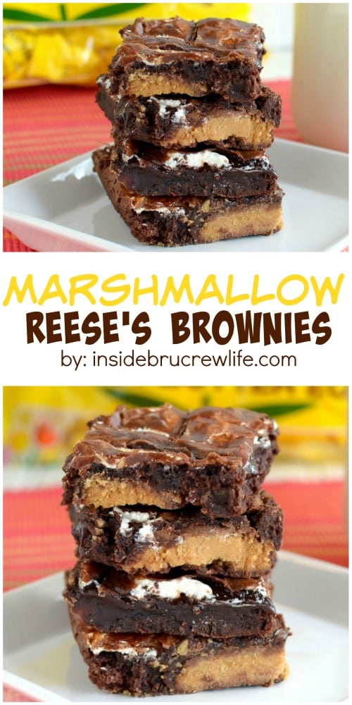Marshmallow Reese's Brownies - these gooey brownies are filled with peanut butter candies and marshmallow cream. Great dessert recipe to use up extra Easter candy. #brownies #peanutbuttereggs #easter #recipes #chocolate #marshmallow #peanutbutter