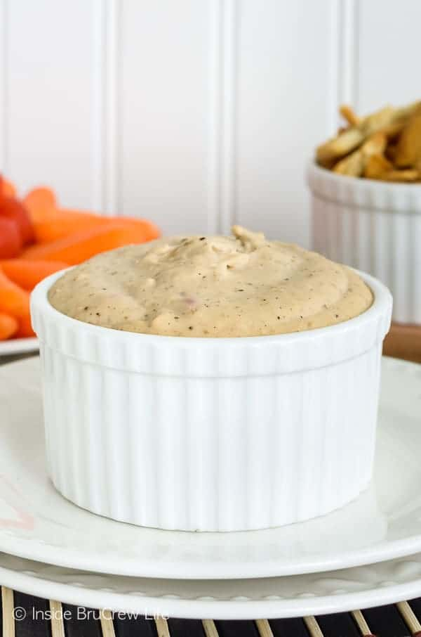 Mushroom Bean Dip - this easy and healthy dip is made with mushrooms, onions, garlic, and white beans. It's the perfect recipe to dip all the veggies in. #healthy #dip #hummus #appetizer #mushroom #bean #recipe