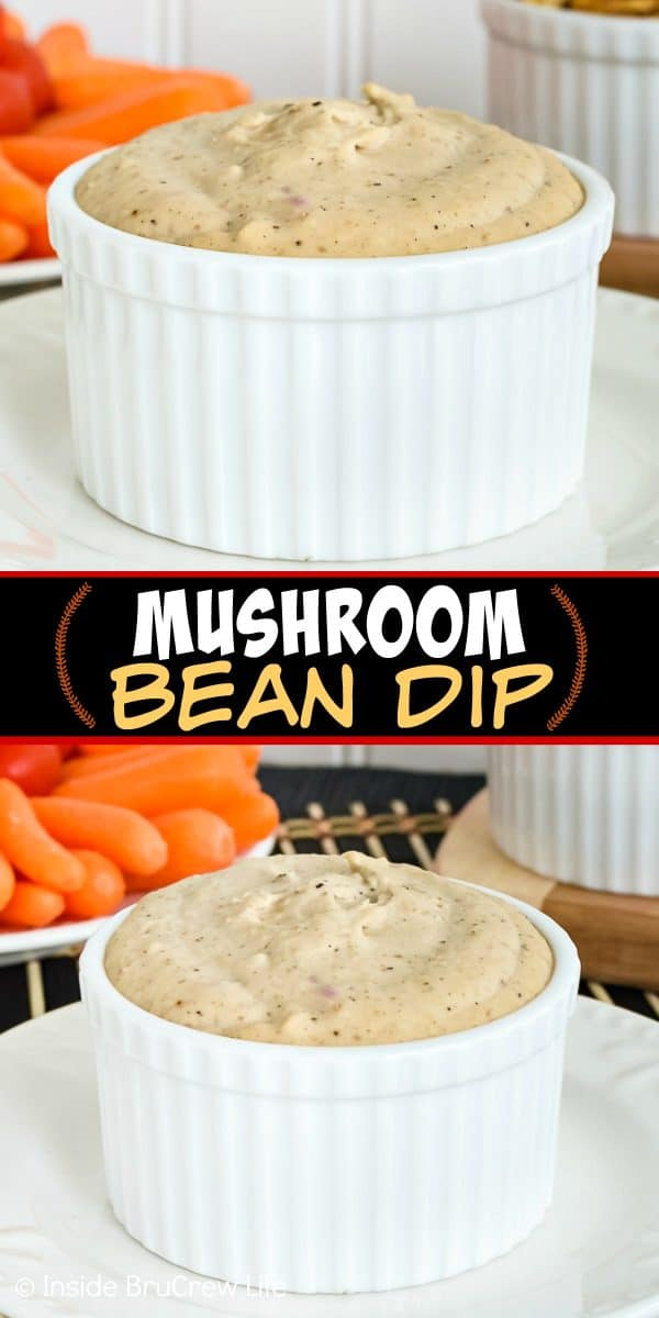 Mushroom Bean Dip - this white bean dip is loaded with mushrooms, onions, garlic, and beans. Try this easy and healthy recipe for dipping all your favorite veggies in. #healthy #dip #hummus #appetizer #mushroom #bean #recipe