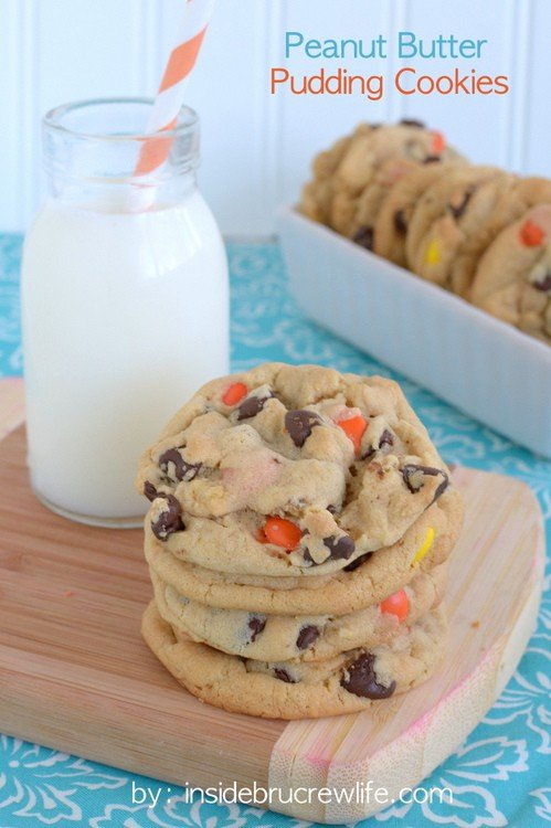 Soft and chewy peanut butter pudding cookies with chocolate chips and Reese's. Good luck not eating all of them!