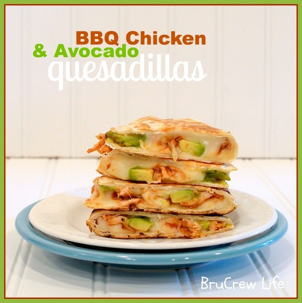 cheese quesadillas with barbecue chicken and avocado