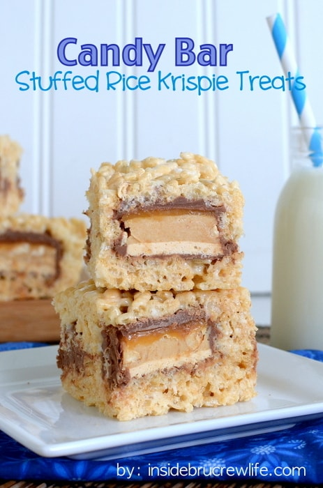 Candy Bar Stuffed Rice Krispie Treats title 2