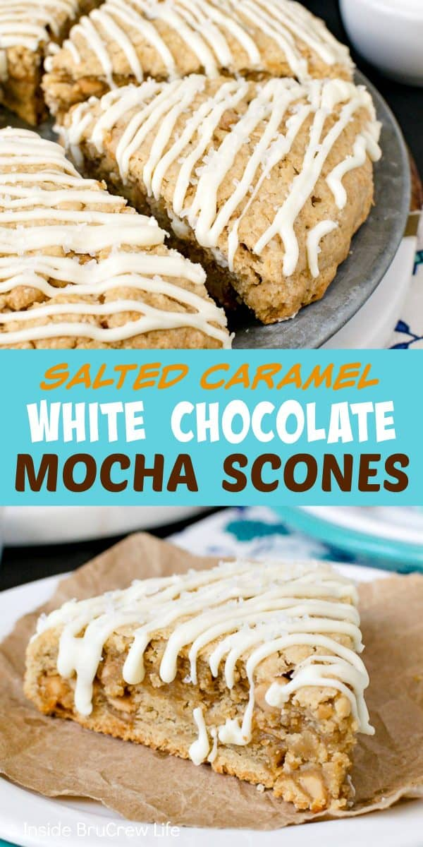 Salted Caramel White Chocolate Mocha Scones - these light and flakey homemade scones are loaded with sweet and salty flavors. Make this easy recipe and enjoy them for breakfast or brunch! #scones #homemade #saltedcaramel #whitechocolate #mocha #breakfast