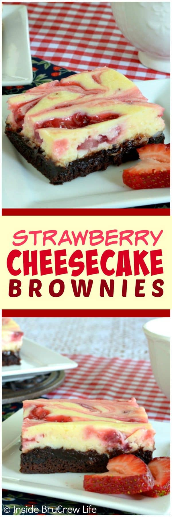 Strawberry Cheesecake Brownies - swirls of homemade strawberry pie filling and creamy cheesecake make these brownies a great dessert recipe for any party or picnic