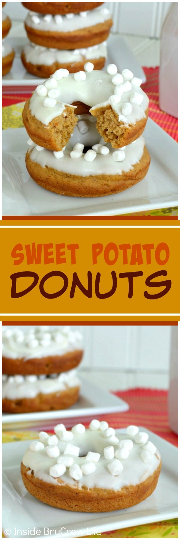 Sweet Potato Donuts - these easy baked donuts are loaded with spices and topped with white chocolate & marshmallow bits. Great fall breakfast recipe!