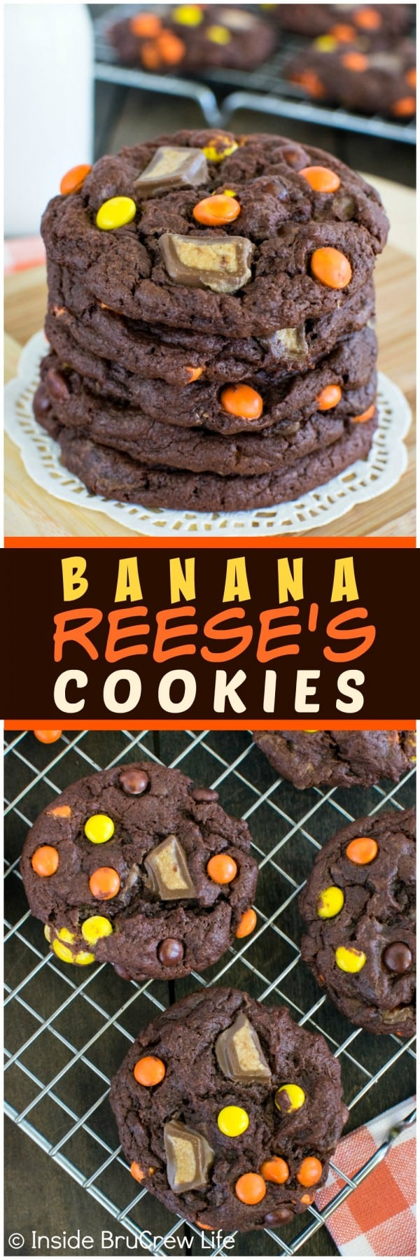Banana Reese's Cookies - soft and chewy cookies loaded with 2 times the peanut butter candies are a must make! Awesome dessert recipe!