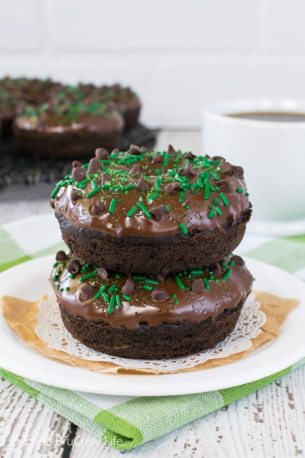 Two frosted baked chocolate donuts on a white plate.