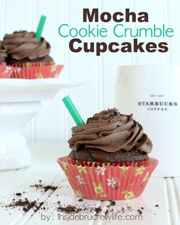 Mocha Cookie Crumble Cupcakes - chocolate cupcakes with a fun mocha frosting and chocolate cookie chunks  http://www.insidebrucrewlife.com