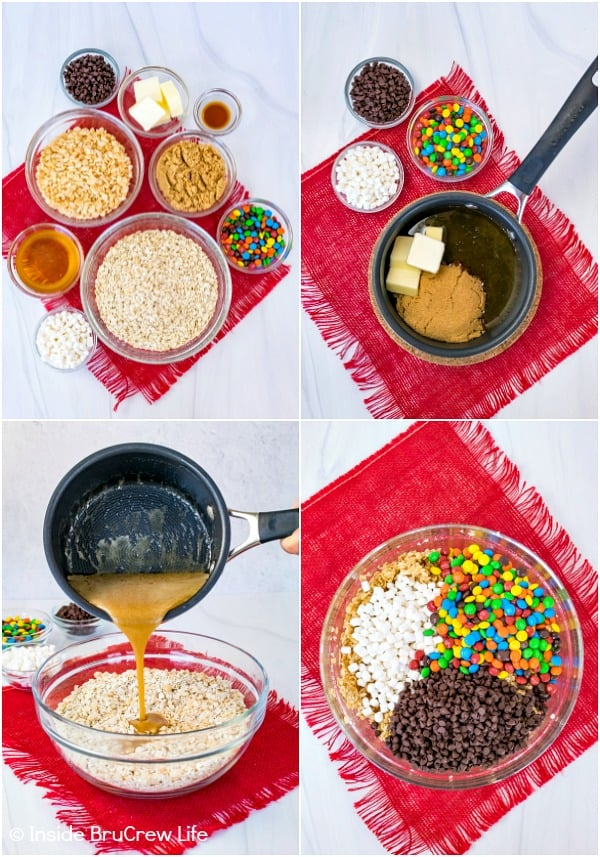 Four pictures collaged together showing how to make no bake M&M granola bars