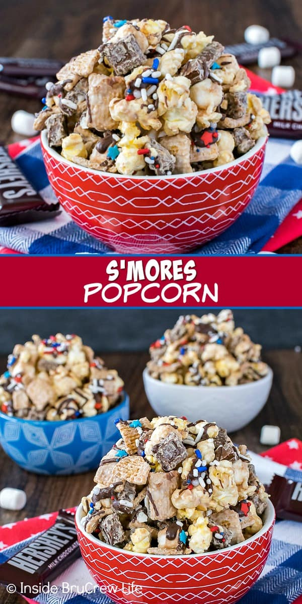 Two pictures of S'mores Popcorn collaged together with a red text box