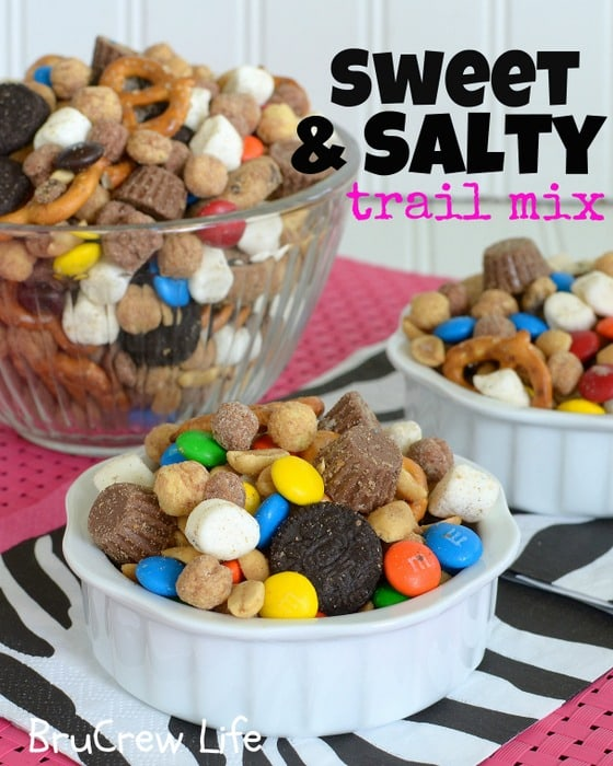 Sweet and Salty Trail Mix - the perfect blend of sweet and salty snacks in one trail mix  www.insidebrucrewlife.com