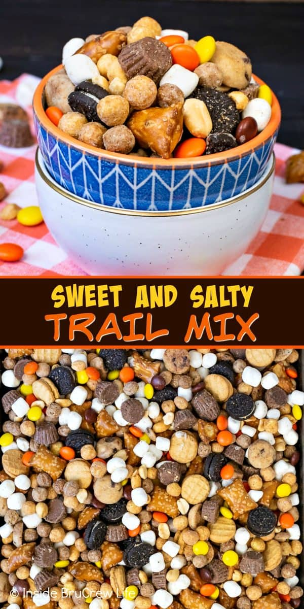 Sweet and Salty Trail Mix - toss together candies, pretzels, peanuts, and cookies for the best snack mix. Make this easy recipe for family game or movie nights! #snackmix #trailmix #reeses #peanutbuttercups #sweetandsalty #nobake
