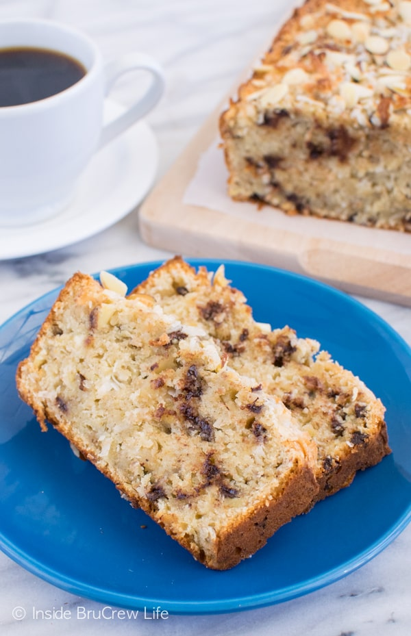 Almond Joy Banana Bread - Adding coconut, chocolate, and almonds makes this sweet bread a delicious way to use up ripe bananas. Make this easy recipe for breakfast or brunch! #bananabread #coconut #almondjoy #sweetbread #breakfast #banana