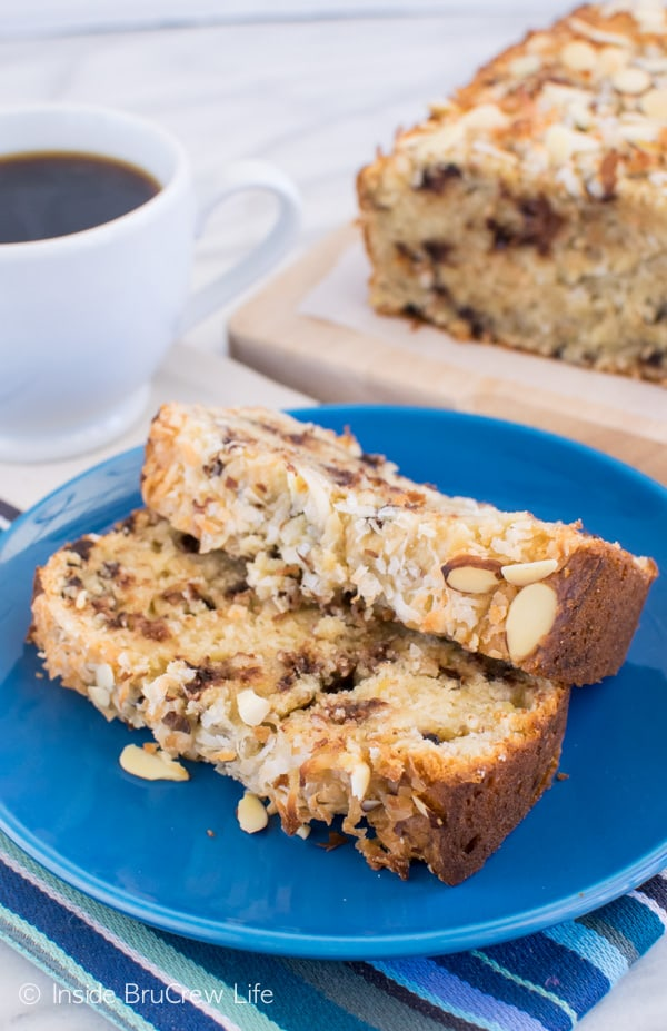 Almond Joy Banana Bread recipe - this sweet bread is a great way to use up ripe bananas
