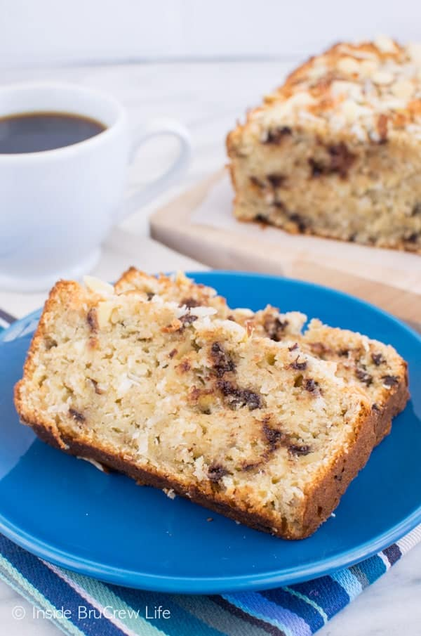 Almond Joy Banana Bread recipe - chocolate, coconut, & almonds add a fun flavor and texture to this sweet bread. Great recipe to make for breakfast or after school snacks! #bananabread #coconut #almondjoy #sweetbread #breakfast #banana