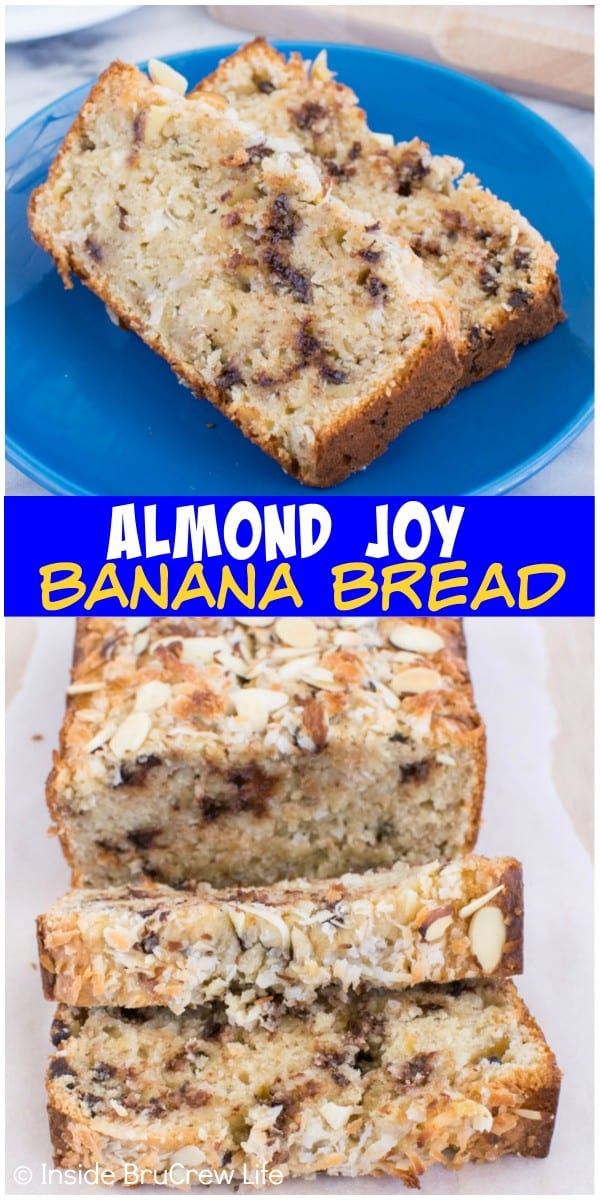 Almond Joy Banana Bread - adding plenty of coconut, chocolate, and almonds gives this sweet bread recipe a fun flavor.