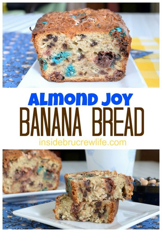 Almond Joy Banana Bread - banana bread gets a fun tropical twist from coconut and Almond Joy candy pieces  www.insidebrucrewlife.com