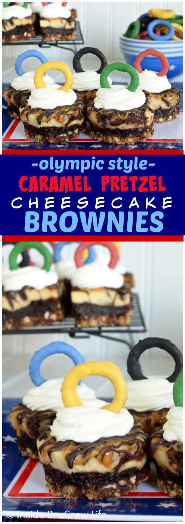 Caramel Pretzel Cheesecake Brownies - the sweet and salty layers in these brownies will have you reaching for more! Great dessert recipe!
