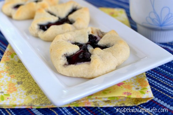 Blueberries and cream cheese make a delicious pastry when wrapped in crescent rolls.
