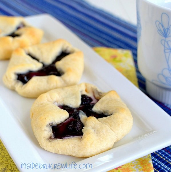 Blueberry cheesecake danishes are a great breakfast or afternoon snack.