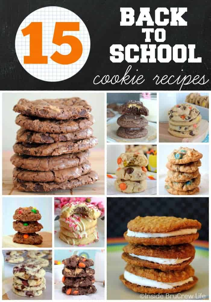 15 Back to School Cookie Recipes - these cookie recipes are tried and true favorites that include all kinds of chocolate and candies. Try these easy recipes to fill lunch boxes or to snack on after school.