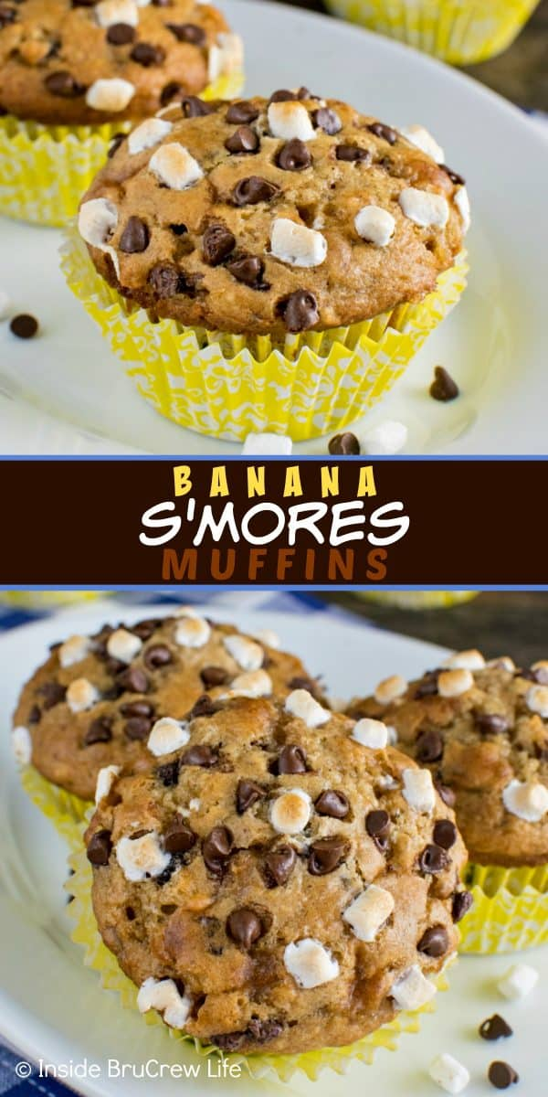 Banana S'mores Muffins - these easy banana muffins are loaded with chocolate chips and marshmallow bits. Such a delicious and easy recipe to make for breakfast! #banana #muffins #banana #smores #chocolate #marshmallows #backtoschool