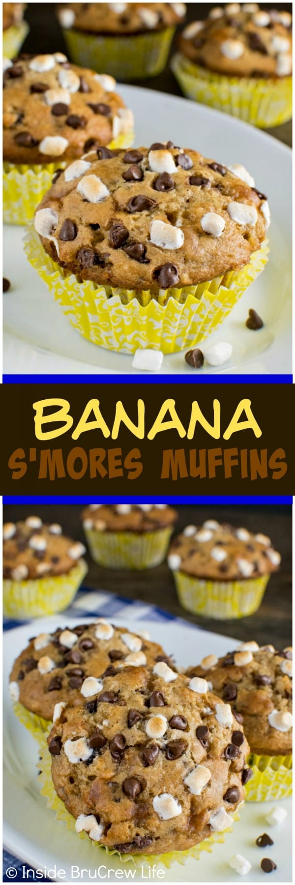 Banana S'mores Muffins - these easy muffins are loaded with marshmallow, chocolate, and graham cracker crumbs. Awesome breakfast recipe!