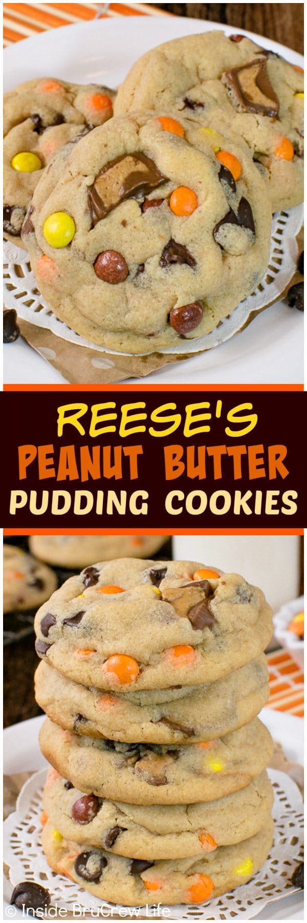 Reese's Peanut Butter Pudding Cookies - this soft and chewy peanut butter cookie recipe is loaded with chocolate and candy! Great dessert to fill the cookie jar with! #cookies #peanutbutter #puddingcookies #reesespeanutbuttercups #cookiejar #recipe #chocolatechipcookies #bestpuddingcookies