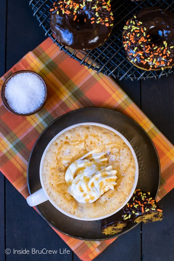 Salted Caramel Pumpkin Latte - enjoy a fun fall flavored coffee house drink recipe that you can make at home!