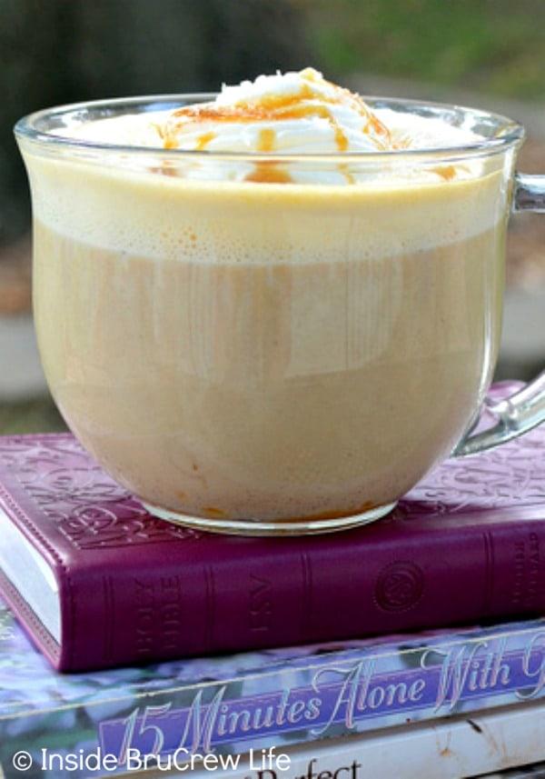 Salted Caramel Pumpkin Latte - a blend of pumpkin, caramel, & sea salt makes this a delicious fall drink!